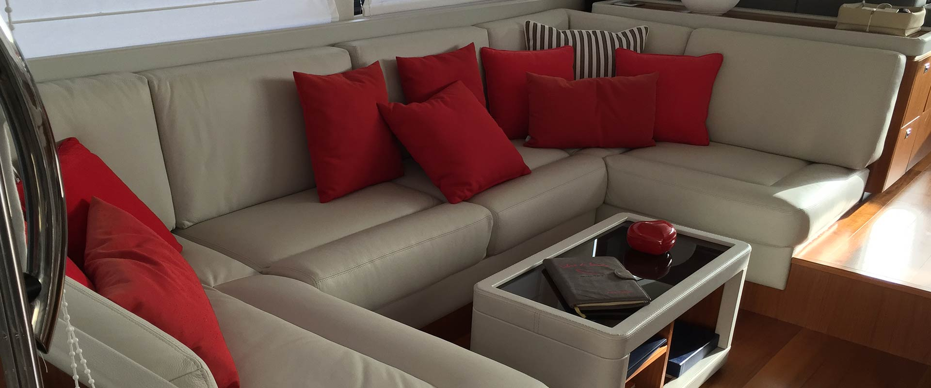 interior decoration, cushions and sofas for boats